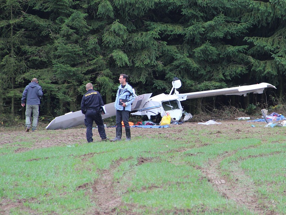 Na louku u lesa poblíž obce Nížkov na Žďársku se v úterý před jednou hodinou odpolední zřítilo malé sportovní letadlo.