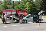 Ke střetu malého hasičského vozidla s osobním autem došlo ve čtvrtek dopoledne ve Žďáře nad Sázavou.