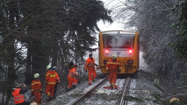 Technici museli odstraňovat strom spadlý na železniční trať mezi Novým Městem a Žďárem nad Sázavou. Dřevina zablokovala pravidelný vlakový spoj.