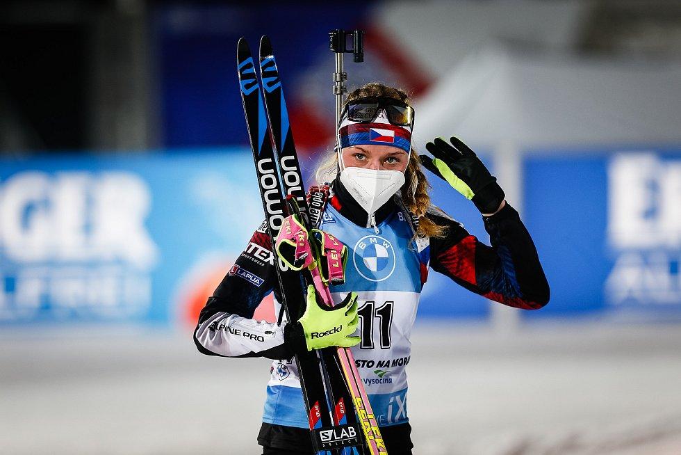 Markéta Davidová po závodu Světového poháru v biatlonu - stíhací závod žen na 10 km ve kterém dojela na 6. místě.