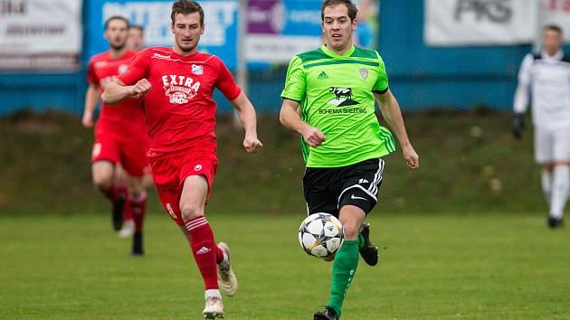 Ve druhém přípravném duelu podlehli fotbalisté Vrchoviny (v zelených dresech) Blansku 1:2.