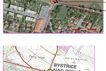 Podle projektu Allianz Automapa je pro řidiče riziková i tato křižovatka silnic v Bystřici nad Pernštejnem.