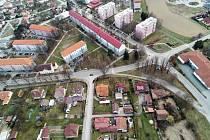 Pohled z dronu na Bystřici nad Pernštejnem.