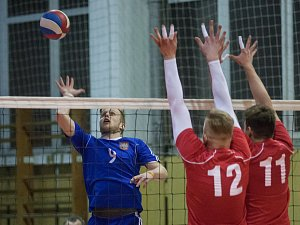 Hráči Velkého Meziříčí (v modrém) obsadili v kvalifikaci o I. ligu první nepostupovou pozici.