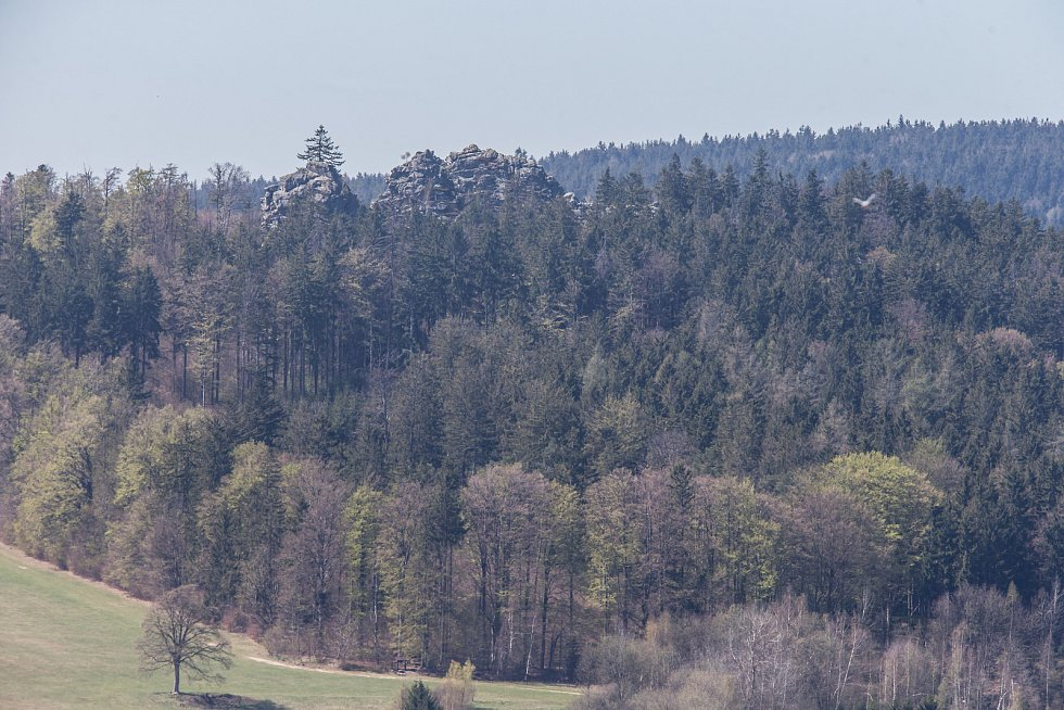 Skála Drátník 776 metrů nad mořem.