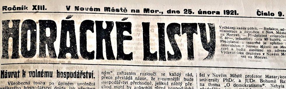 Důležité zprávy lze vyčíst z dobového tisku, Horáckých listů. Reprofoto.