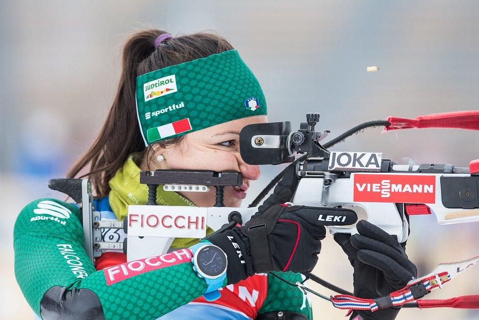 Biatlonistky na tréninku 18. prosince 2018 v Novém Městě na Moravě před závody Světového poháru.