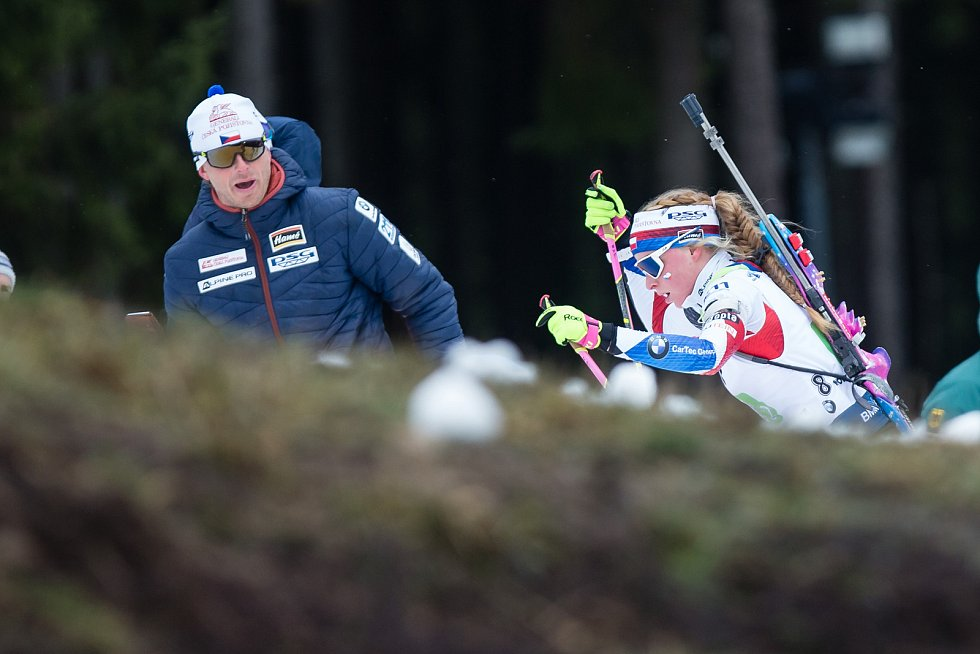 Závod SP v biatlonu (štafeta ženy 4 x 6 km) v Novém Městě na Moravě. Na snímku: Markéta Davidová.