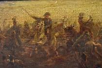 Na tmavé olejomalbě jde Napoleon poznat jen ztěží.