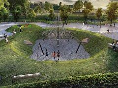 Pokud vše půjde podle plánu, na novém hřišti si budou děti hrát příští léto.