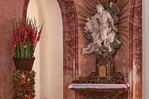Interiér kostela svatého Jana Nepomuckého na Zelené hoře.