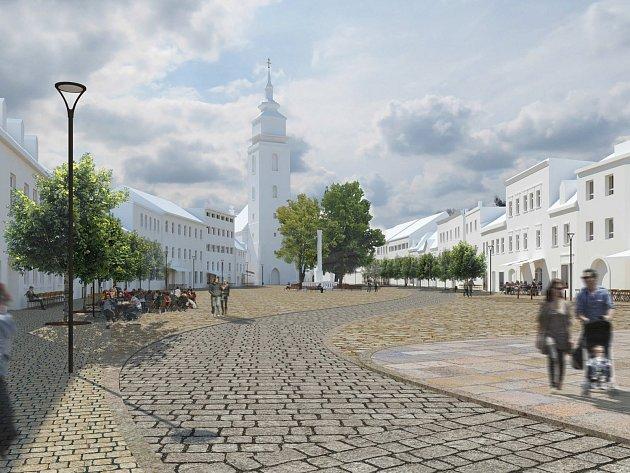 Návrh Miroslava Cikána na úpravy velkomeziříčského Náměstí a přilehlých ulic. V architektonicko-urbanistické soutěži ho vyhodnotila odborná porota jako 2. nejlepší.