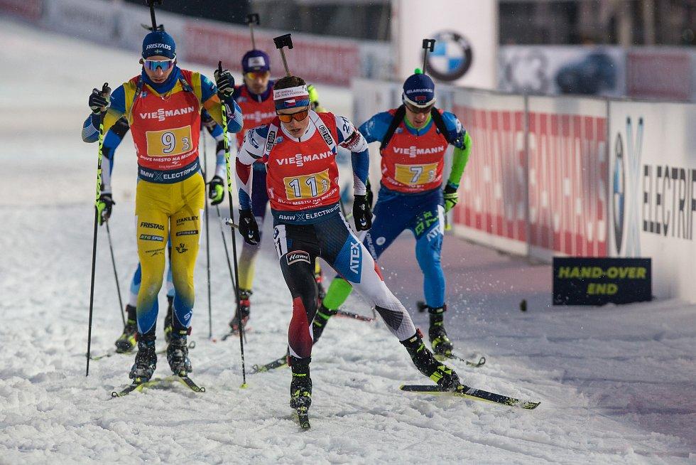 Závod SP v biatlonu (štafeta mužů 4 x 7,5 km) v Novém Městě na Moravě. Na snímku: