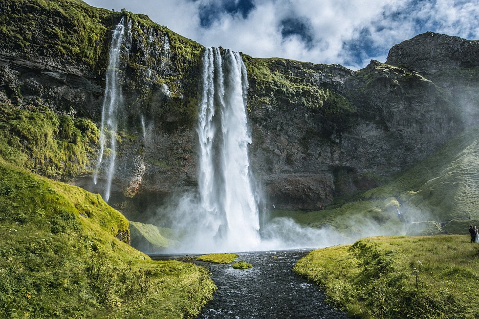 Vodopád Sjealandfoss na jihu Islandu.