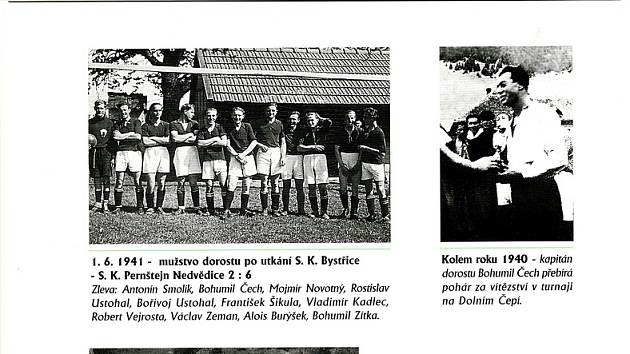 Jedna ze stránek Almanachu SK Pernštejn Nedvědice. Foto: archiv SK Pernštejn Nedvědice