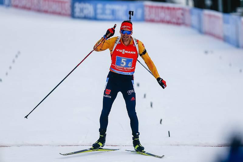 Philipp Nawrath v závodu Světového poháru v biatlonu - štafeta 4 x 7,5 km mužů.