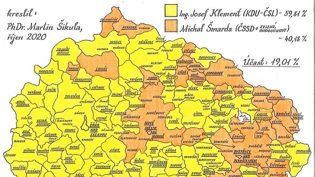Martin Šikula vytvořil srovnávací mapy senátních voleb. Podívejte se