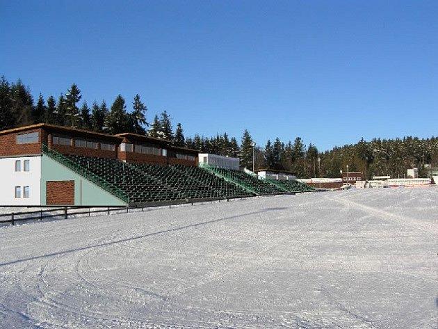 Část biatlonového stadion v Novém Městě.