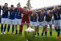 Takto se v červnu tohoto roku radovali fotbalisté Nové Vsi z triumfu ve finále loňského ročníku krajského poháru Vysočiny. Uspějí i letos?