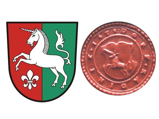 Figura jednorožce ve skoku, která se objevuje už na původní historické pečeti (vpravo) byla v návrhu nového znaku (vlevo) doplněna lilií připomínající kapli sv.Antonína, která v obci stojí už od roku  1901.