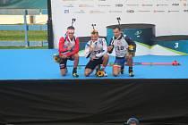 Nejrychlejší sprinteři v závodě mužů. Zleva druhý Slovák Matej Baloga, mistr světa Michal Krčmář, třetí Rumun Cornel Puchianu.