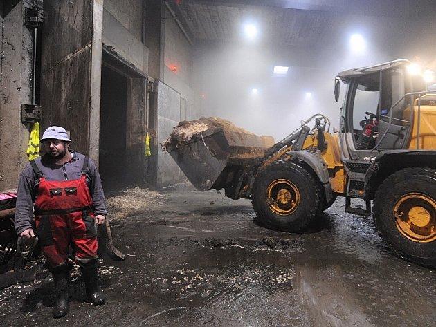 Bioplynová stanice firmy ODAS ve Žďáře nad Sázavou zpracovává jako jedna ze tří v České republice biologický odpad z domácností a obchodů. Na snímku je sklad odpadu u fermentorů produkujících bioplyn.