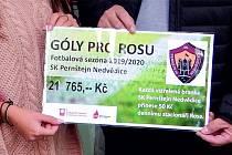 Konečná suma, kterou fotbalisté předali Rose, se vyšplhala na  21 765 korun.