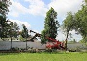 Několik vzrostlých stromů bouřka vyvrátila také v aleji u žďárského zámku. S odstraněním kmene, který přepadl přes zámeckou zeď do zahrady Kinských, museli přijet pomoci žďárští profesionální hasiči.
