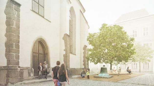 Vizualizace podoby velko meziříčského náměstí - vítězný návrh Davida Mikuláška a jeho spolupracovníků.
