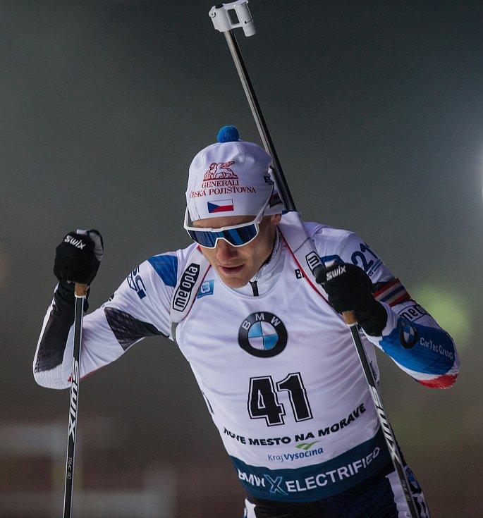 Závod SP v biatlonu (sprint 10 km muži) v Novém Městě na Moravě. Na snímku: Ondřej Moravec.