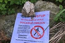 Turisté chodí kolem skalního útvaru po špičkách, respektují krkavčí hnízdění.
