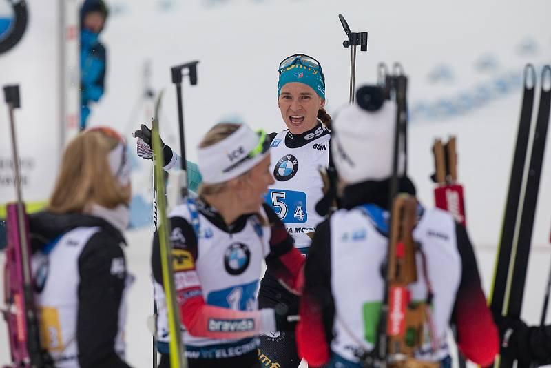 Závod SP v biatlonu (štafeta ženy 4 x 6 km) v Novém Městě na Moravě. Na snímku: Anais Bescond z Francie.