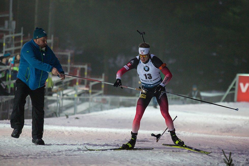 Závod SP v biatlonu (sprint 10 km muži) v Novém Městě na Moravě. Na snímku: Tarjei Boe.