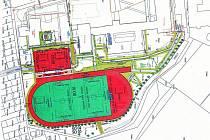STUDIE. Velké hřiště s atletickým oválem a malé víceúčelové k tomu. Rekonstrukci by přivítali nejenom žáci a studenti, ale i veřejnost.