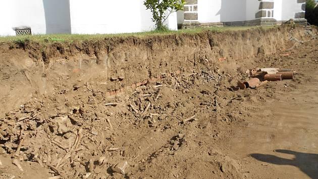 V zásypu byly nalezeny kosterní pozůstatky.