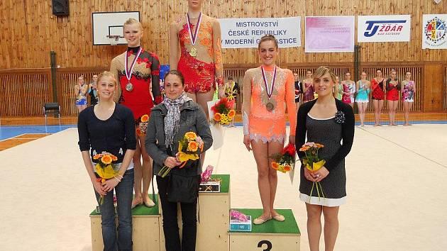 Žďárské moderní gymnastky hostily mistrovství ČR. Eliška Svobodová (druhá zprava) na něm skončila třetí.
