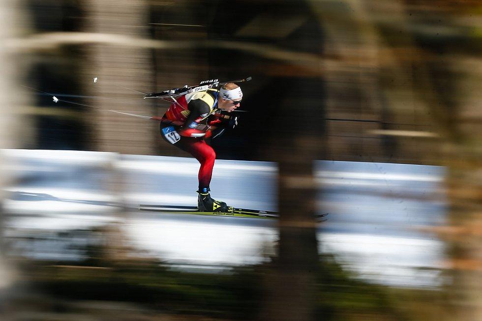Johannes Thingnes Boe v závodu Světového poháru v biatlonu v závodu sprintu mužů na 10 km.