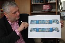 Takto bude vypadat vlak polepený reklamou pro město Žďár nad Sázavou. Návrh polepu drží místostarosta města Ladislava Bárta.