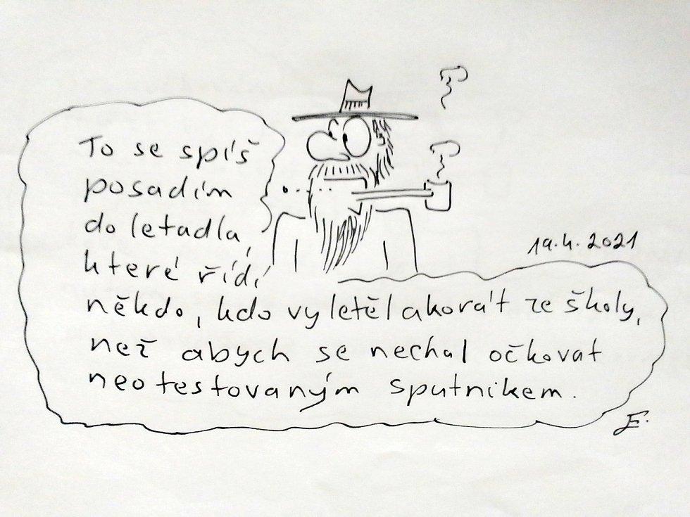 Radek Chodura z Herálce svůj kreslený humor okamžitě předhazuje veřejnosti.