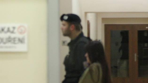 Na snímku je Barbora Orlová, která v úterý 14. října 2014 zaútočila na studující střední žďárské obchodní školy. Eskorta ženu vede v prostorách justičního areálu v Jihlavě k soudci, který má rozhodnout o vazbě. (Omluvte sníženou kvalitu snímku).