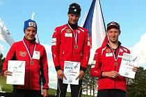 Na letním MČR v severské kombinaci skončil novoměstský odchovanec Petr Kutal (vpravo) třetí.
