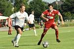 Hráči Velkého Meziříčí (v červeném) podruhé za sebou nedokázali skórovat a na hřišti béčka Sigmy Olomouc prohráli 0:2.