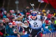 Ondřej Moravec v závodu s hromadným startem na 15 km mužů v rámci Světového poháru v biatlonu.
