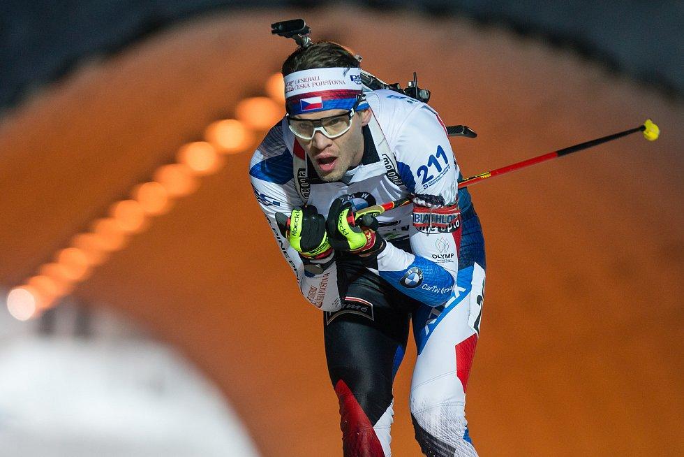 Závod SP v biatlonu (sprint 10 km muži) v Novém Městě na Moravě. Na snímku: Adam Václavík.