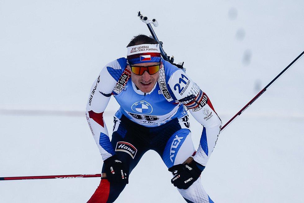 Ondřej Moravec v závodu Světového poháru v biatlonu v závodu sprintu mužů na 10 km.