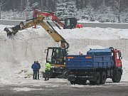 Zásobník sněhu ve Vysočina aréně.
