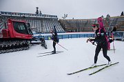 České biatlonistky na tréninku 18. prosince 2018 v Novém Městě na Moravě před závody Světového poháru.