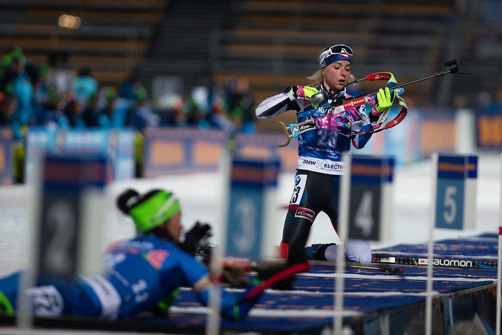 Sprint žen v rámci Světového poháru v biatlonu v Novém Městě na Moravě. Na snímku: Markéta Davidová.