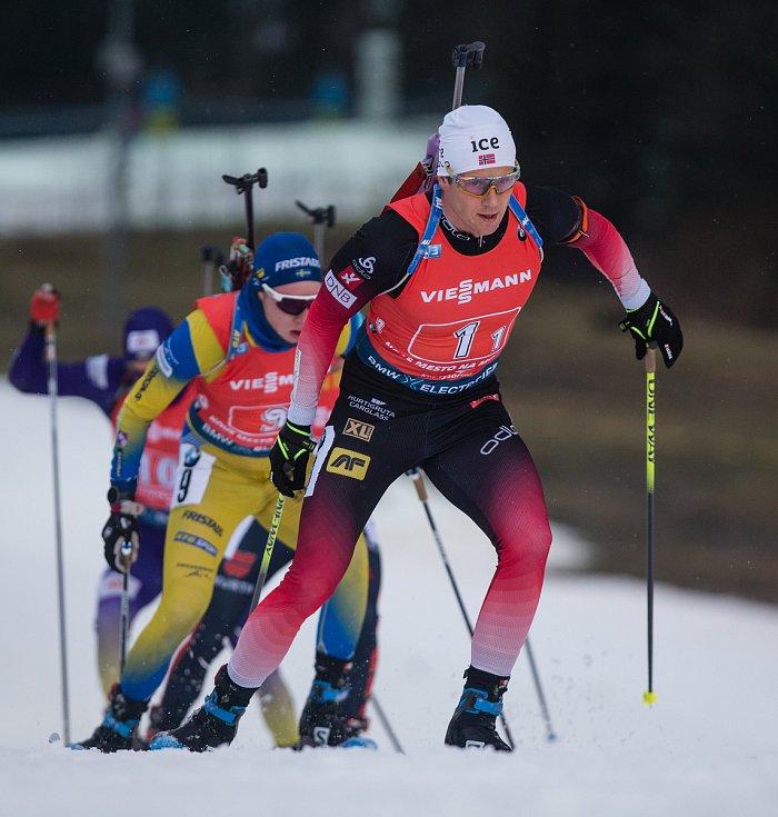 Závod SP v biatlonu (štafeta mužů 4 x 7,5 km) v Novém Městě na Moravě. Na snímku: Sjaastad Vetle Christiansen.