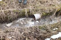 Ve vodním toku byl zřetelný výskyt tuků.